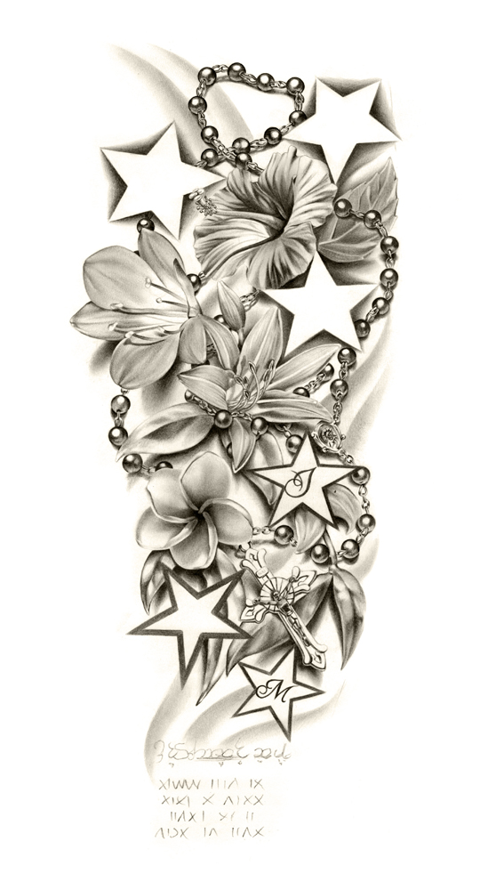 540x1000 Flowers Composition Sleeve Tattoo By Ca5per
