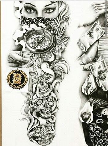 Sleeve tattoo drawing at free for for Drawing tattoos on paper