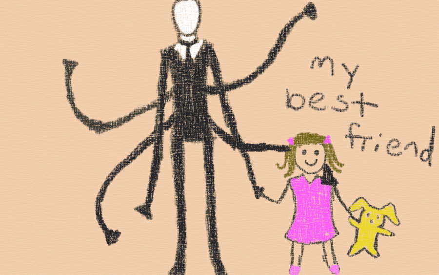 900x563 Slenderman Child's Drawing, 1989 By Dandelionpoof