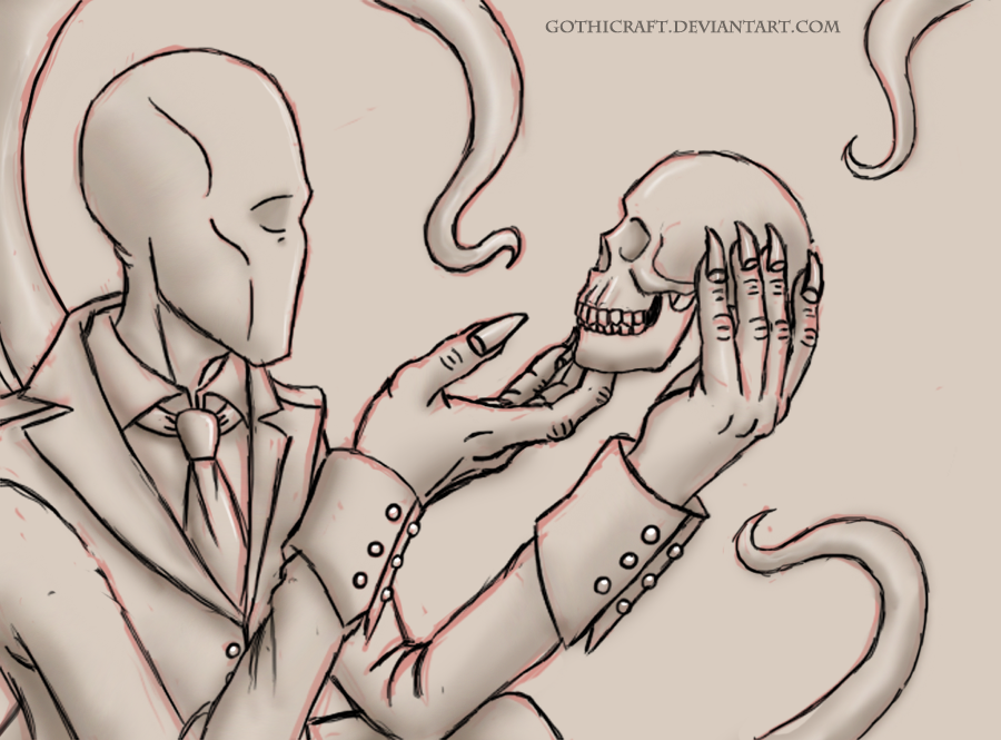 900x665 Slenderman And Human Skull Sketch By Gothicraft