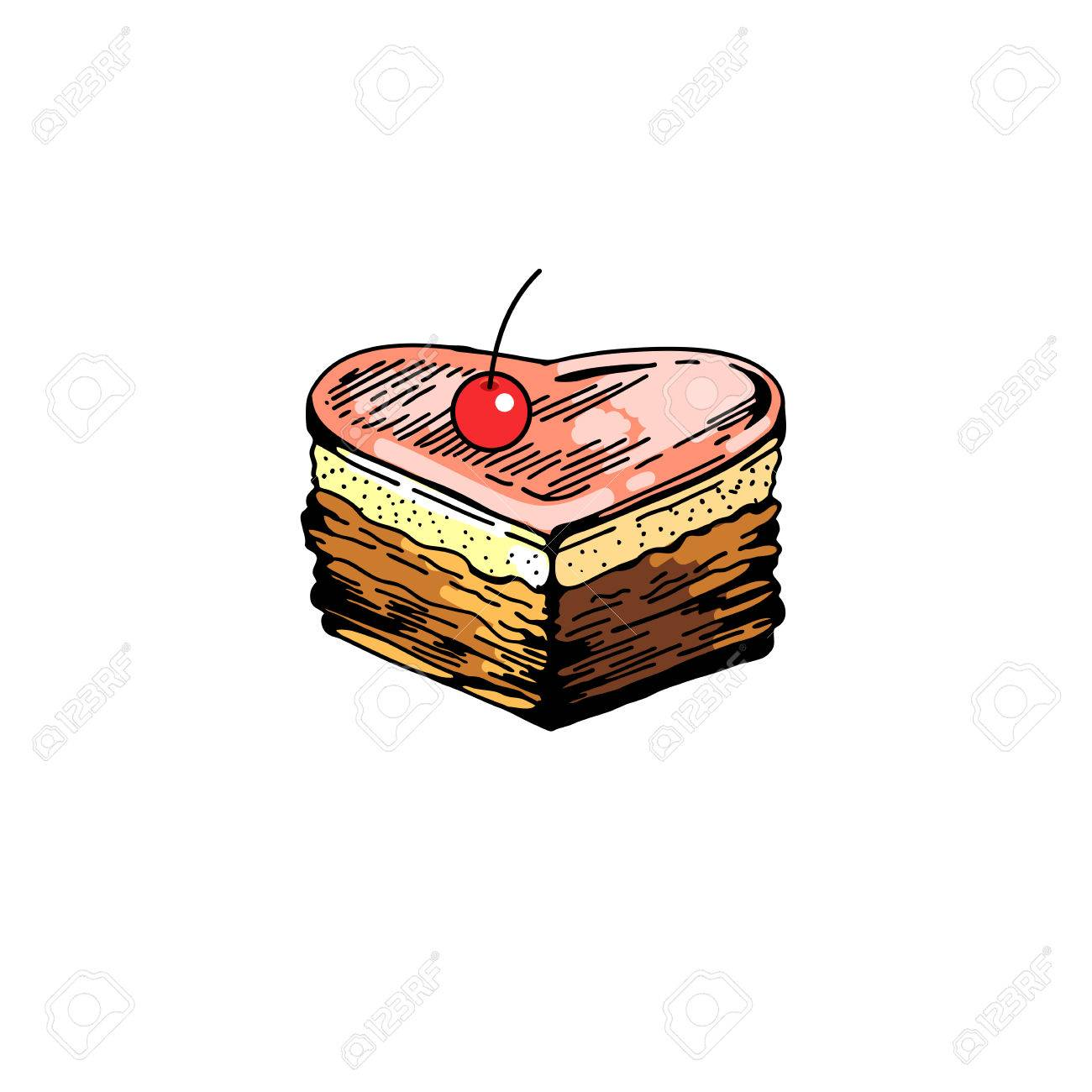 1300x1300 Bakery Sweet Background. Hand Drawing Slice Pie. Vector Pastry