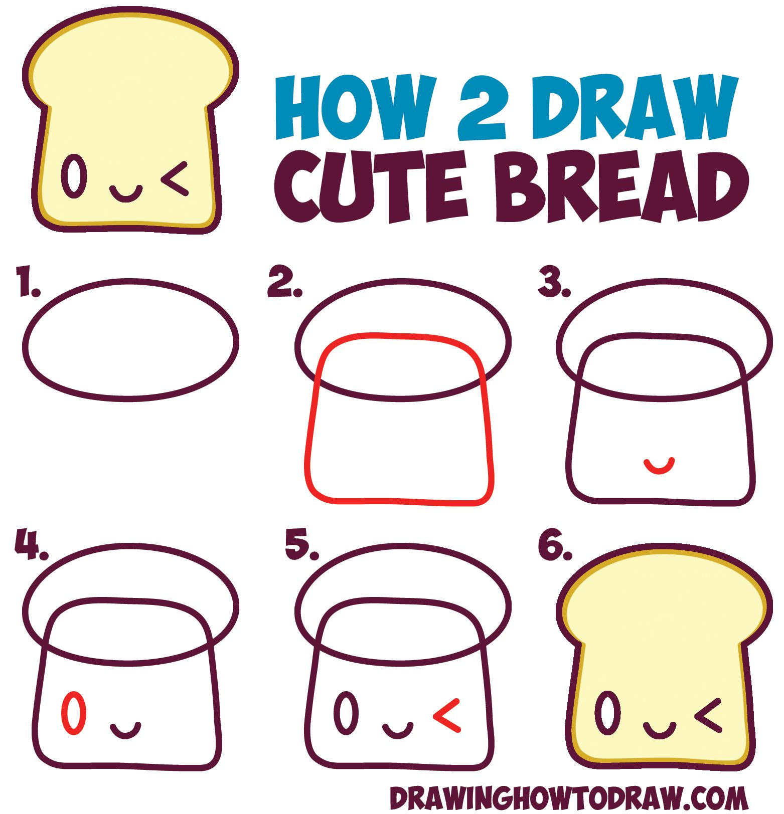 1563x1624 How To Draw Cute Kawaii Bread Slice With Face On It