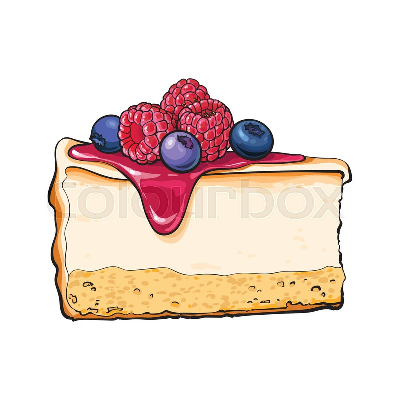 800x800 Hand Drawn Piece Of Cheesecake Decorated With Fresh Berries