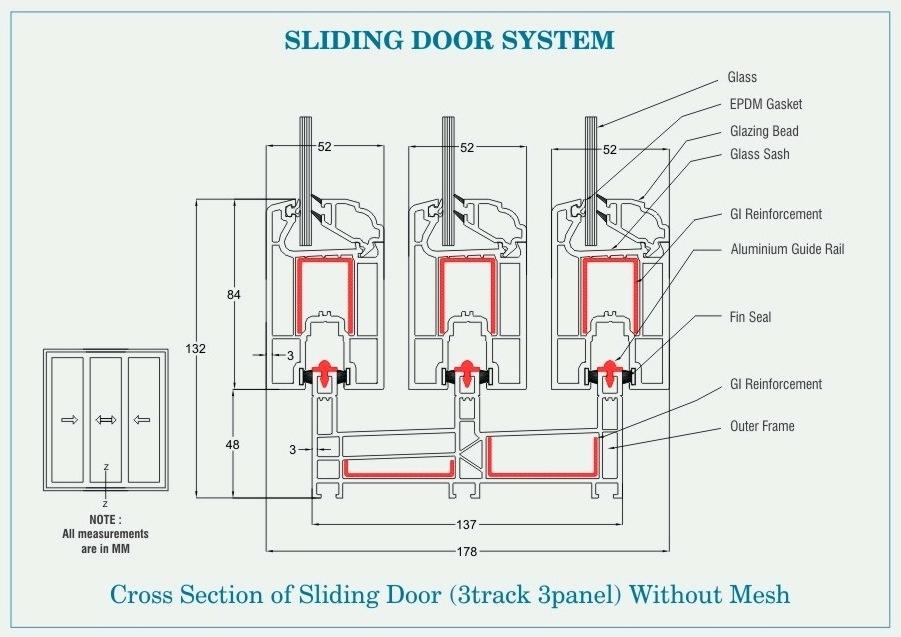 Sliding door plan drawing at free for for Sliding glass doors plan