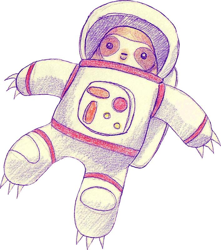 707x800 Astronaut Sloth Drawing Stickers By Saradaboru Redbubble