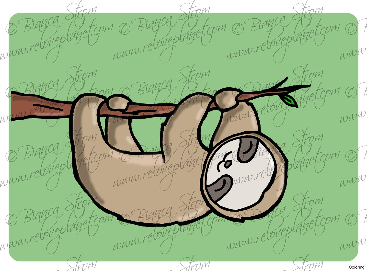 1500x1108 Drawn Sloth 2 How To Draw A Coloring Pin 1 3f For Kids Easy