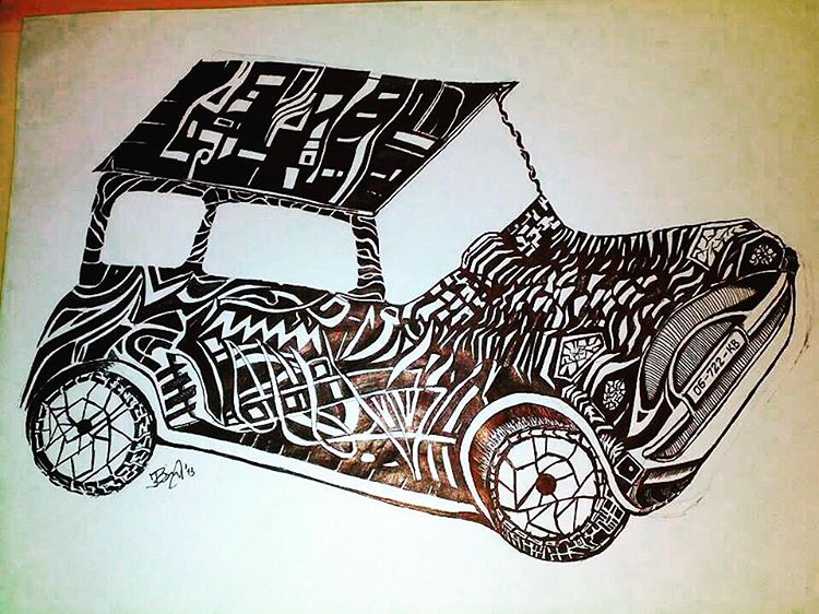 750x562 Doodle Art Car Drawing Pen Art Small Car Black And White