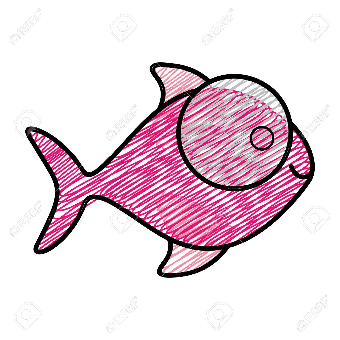 nice fish color by number elaboration pink coloring sheet