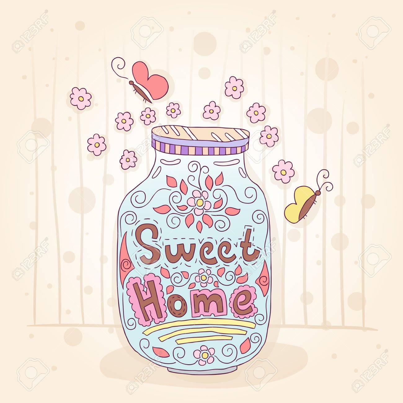 1300x1300 Sweet Home. Bottle With An Inscription. Small Flowers. Gift Card