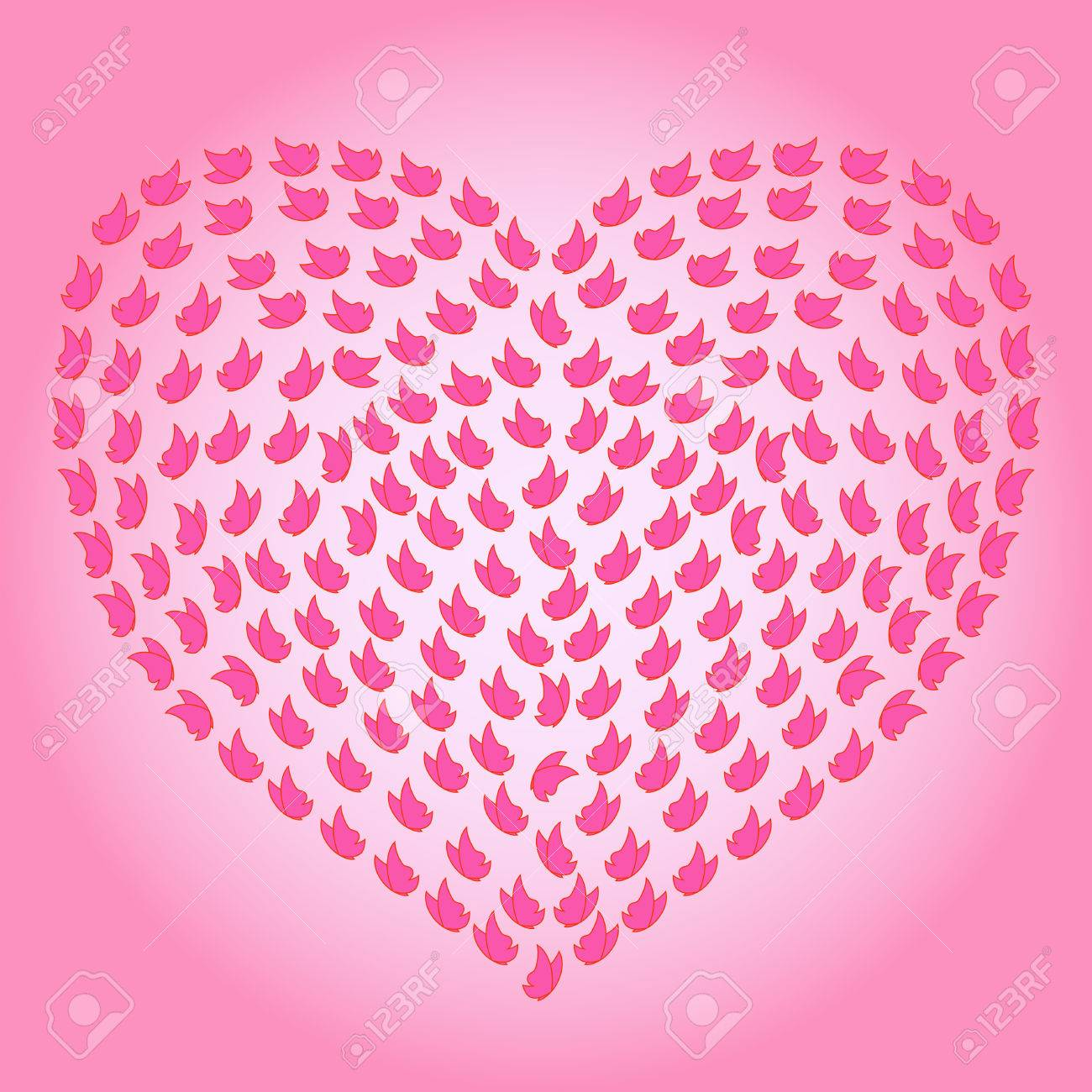 1300x1300 Heart With Many Small Butterflies On The Pink Backgrounds