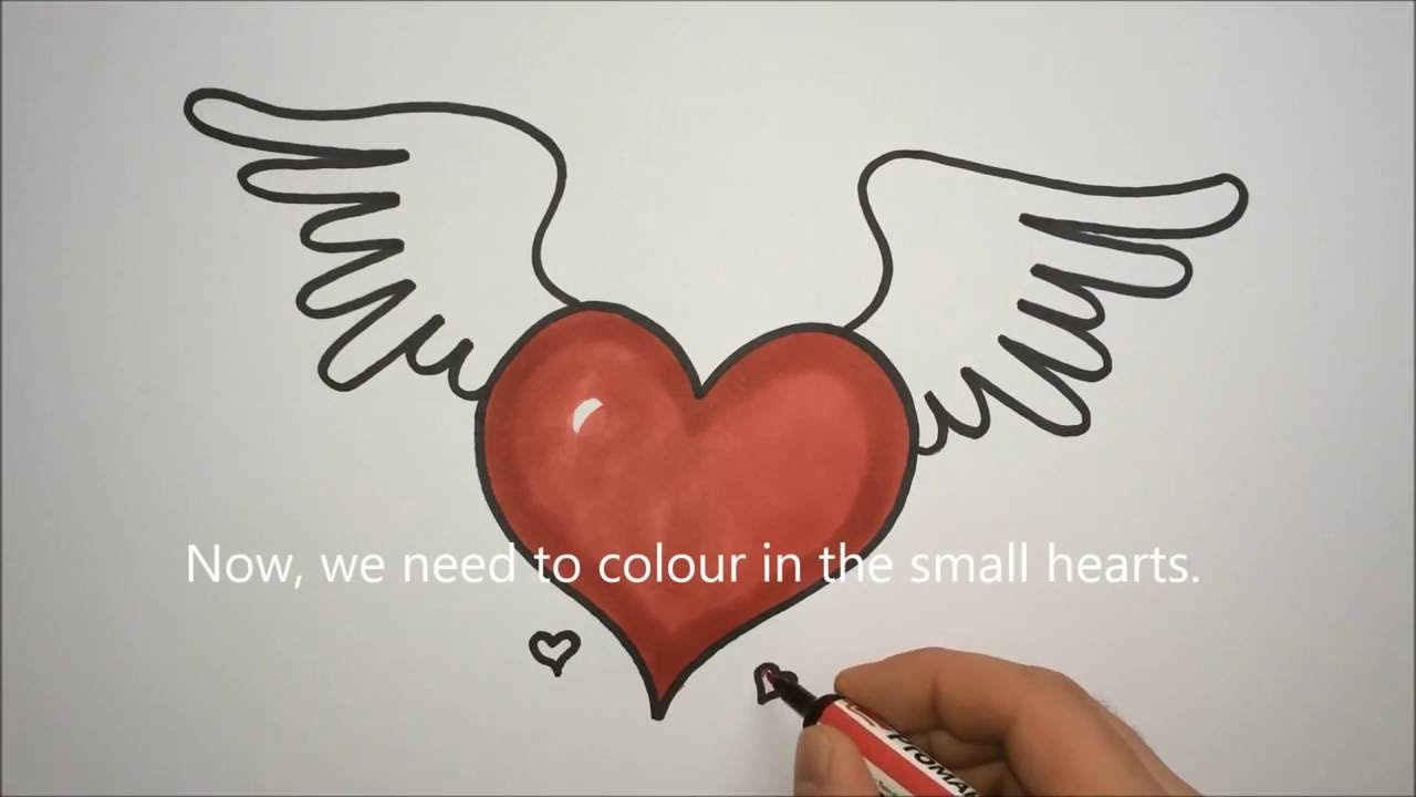 1280x720 How To Draw A Heart With Wings Step By Step Easy