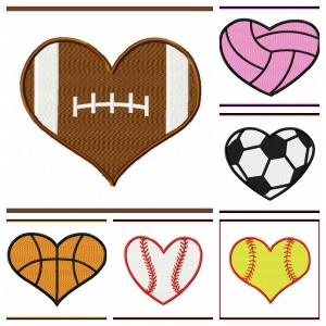 300x300 Small Heart Shaped Sports Balls Applique And Fill Stitch