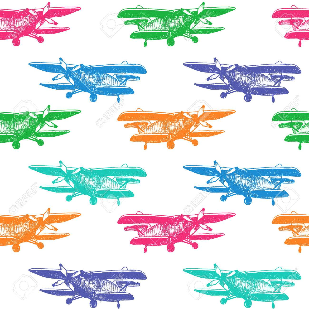 1300x1300 Vector Illustration Of Small Plane Sketch For Design, Website