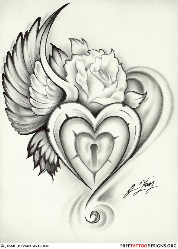 588x821 Wing Heart Lock Rose Tattoo Flash Tattoos Tattoo