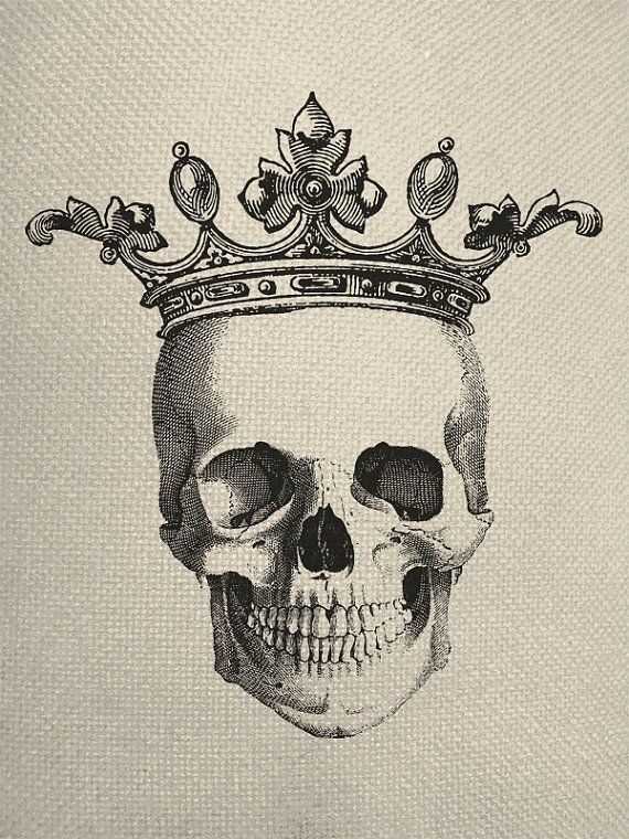 570x760 Skull With Small Crown Engraving Digital Collage Graphic Fabric