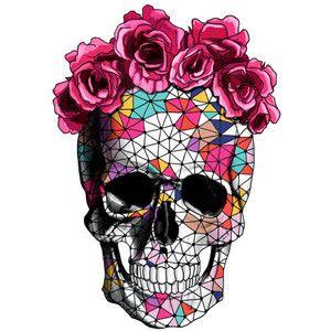300x300 Geometrics Sugar Skull With Rose Floral Crown Temporary Tattoo