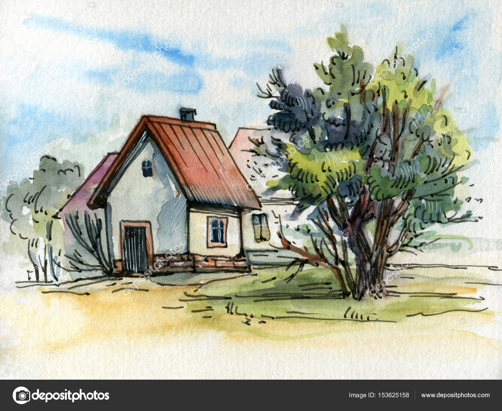 1600x1311 Watercolor Drawing Of Small Village Stock Photo Tiff20