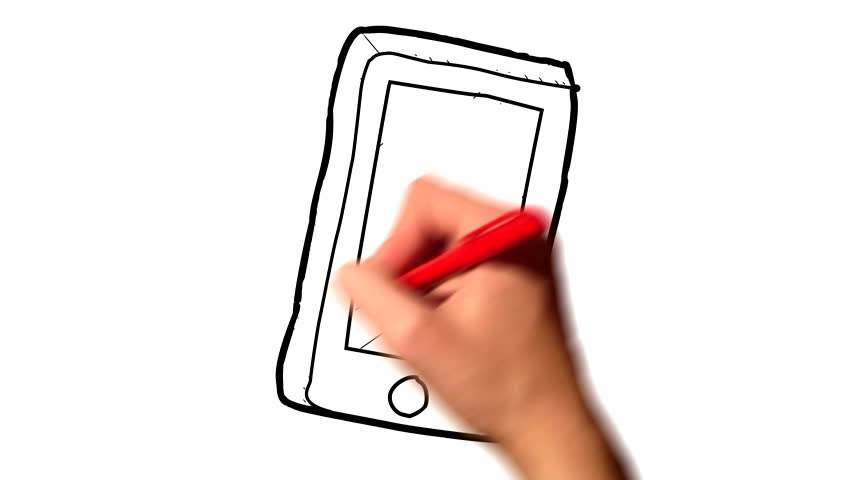 852x480 A Hand Drawing Smartphone (Blue Ink) Animation Stock Footage Video