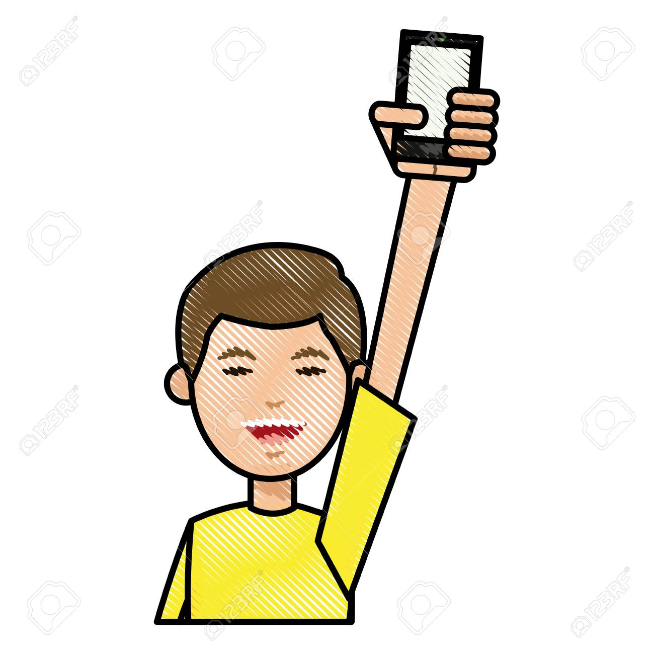 1300x1300 Drawing Boy With Yellow Tshirt Holding Smartphone In Hand Vector