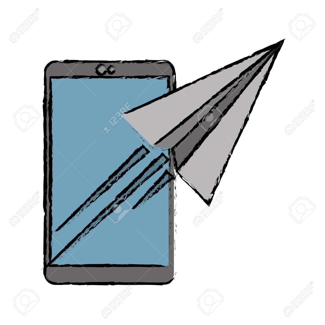 1300x1300 Drawing Smartphone Sending Email Concept Vector Illustration