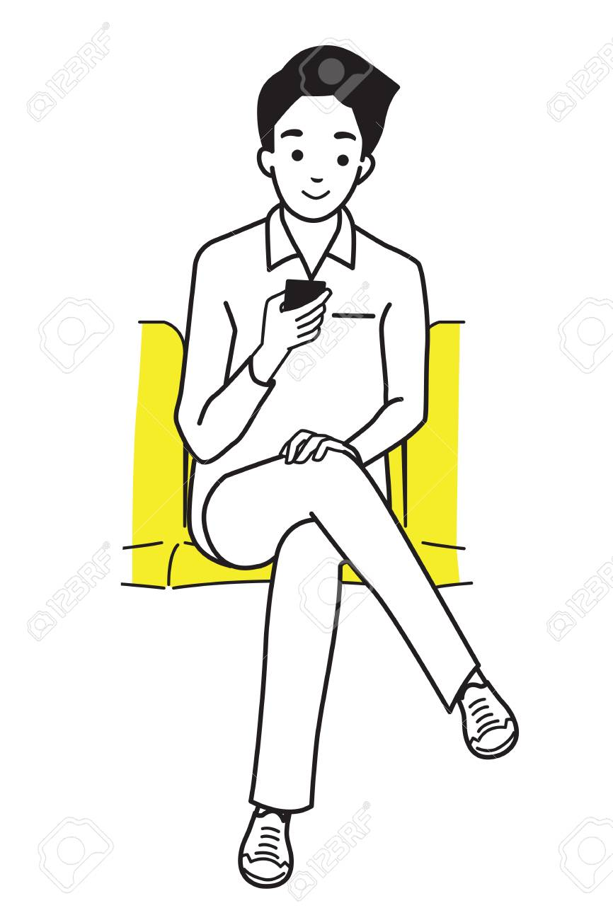 866x1300 Young Man Holding And Using Smartphone, Sitting In Subway. Outline