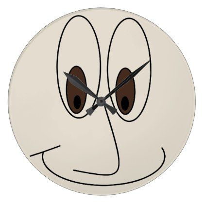 422x422 Funny Smiling Face Design Large Clock