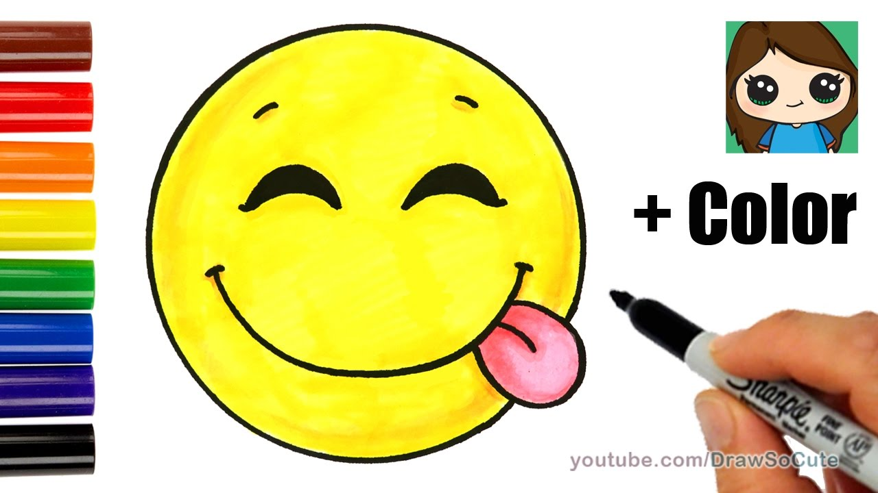 1280x720 How To Draw A Silly Happy Face Emoji With Coloring Easy
