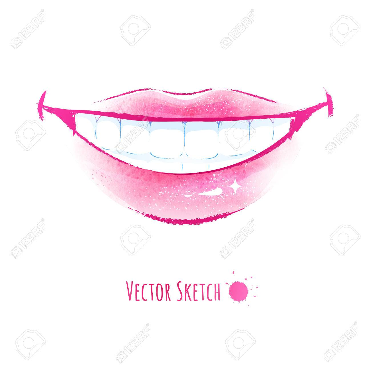 1300x1300 Hand Drawn Watercolor Vector Illustration Of Smiling Lips. Royalty