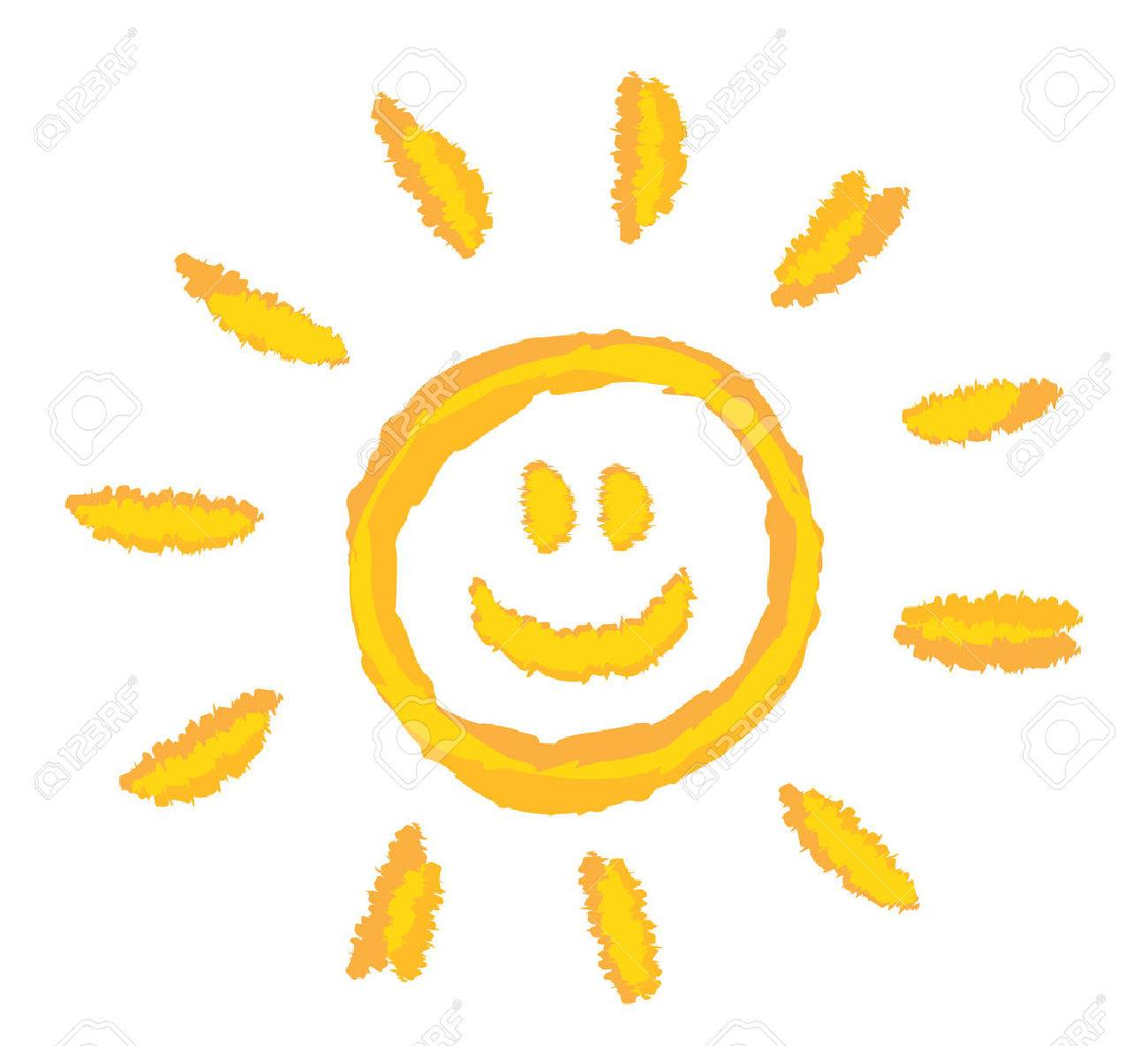 1300x1185 Children Drawing Bright Smiling Sun Symbol Royalty Free Cliparts