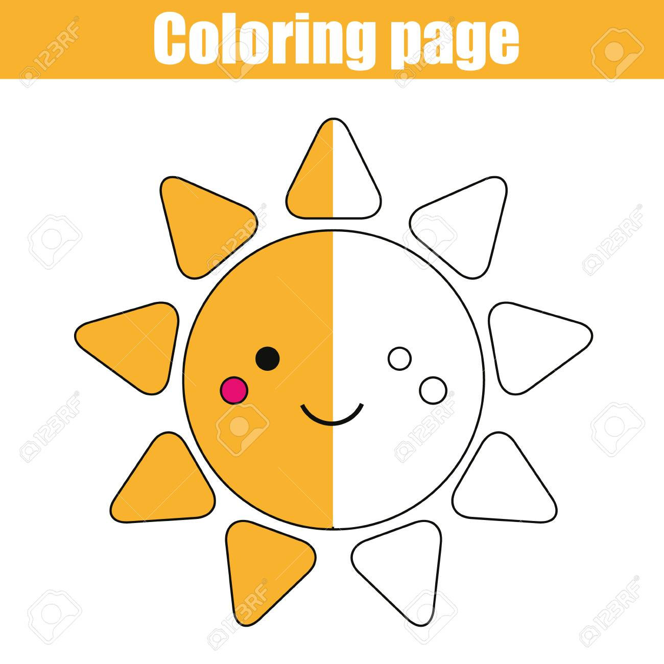 1300x1300 Coloring Page With Cute Smiling Sun Character. Color The Picture