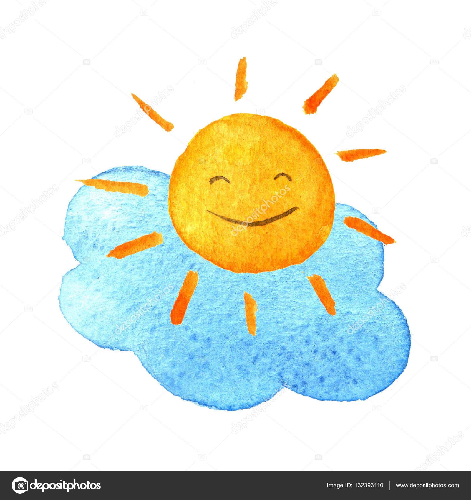 1600x1700 Cute Cartoon Cloud And Sunshine. Hand Drawn Watercolor