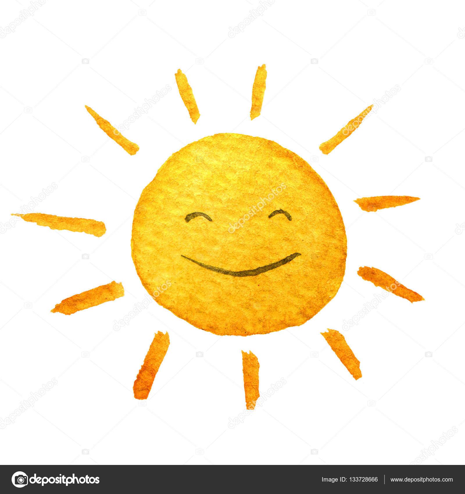1600x1700 Cute Cartoon Sunshine. Hand Drawn Watercolor Illustration Smiling