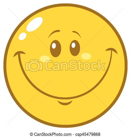 450x470 Yellow Smiley Face Cartoon Character Illustration Isolated