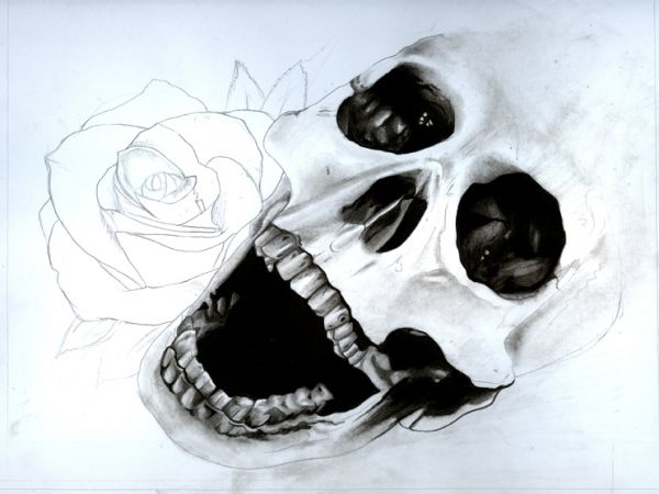 600x450 Draw A Skull And Rose With Pencils And Watercolours