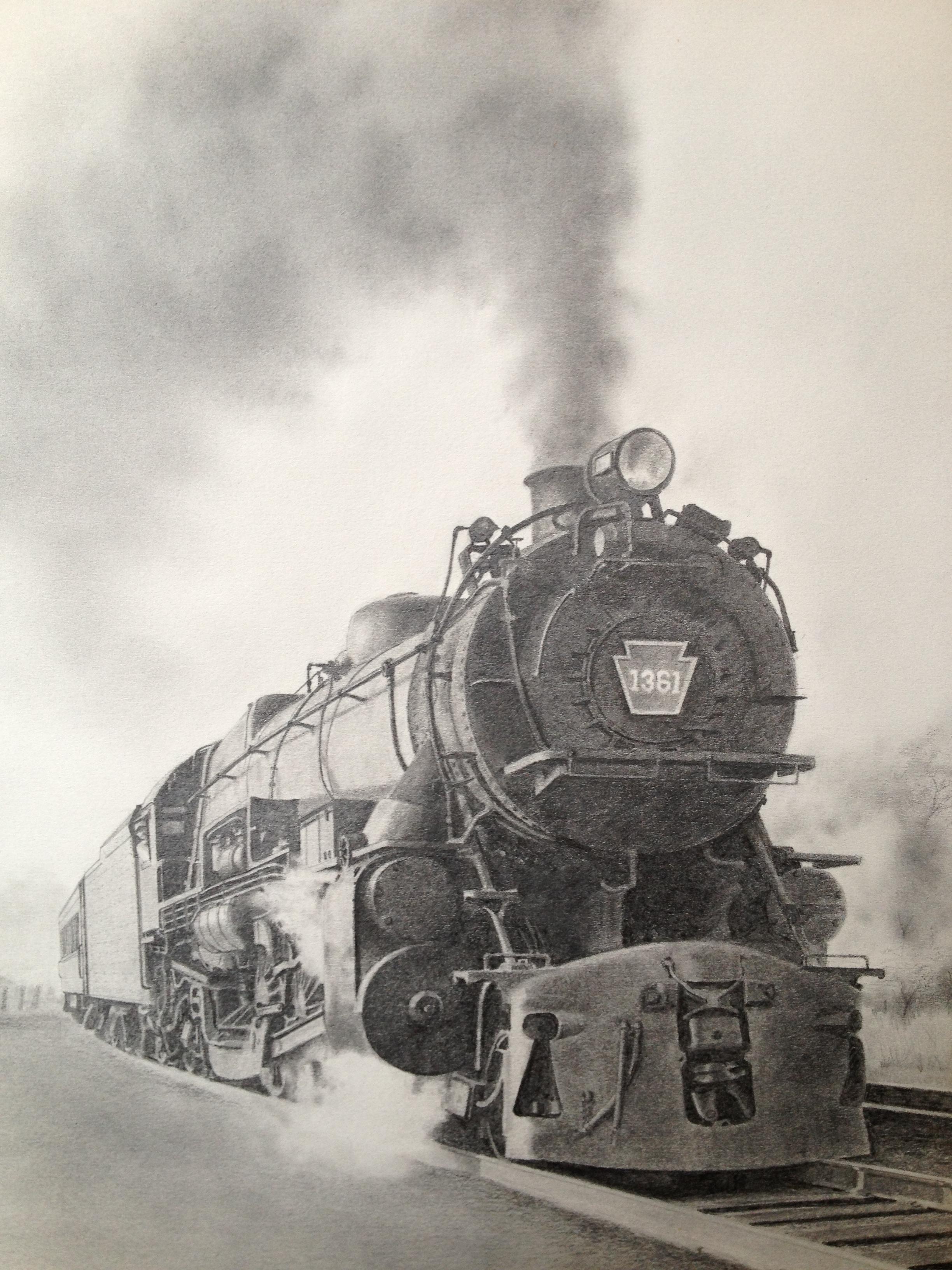 2448x3264 Pennsylvania Railroad K 4 Steam Locomotive 1361. Pencil Drawing