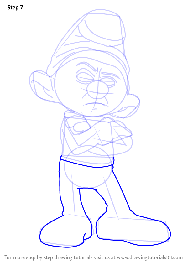 600x846 Learn How To Draw Grouchy Smurf From Smurfs