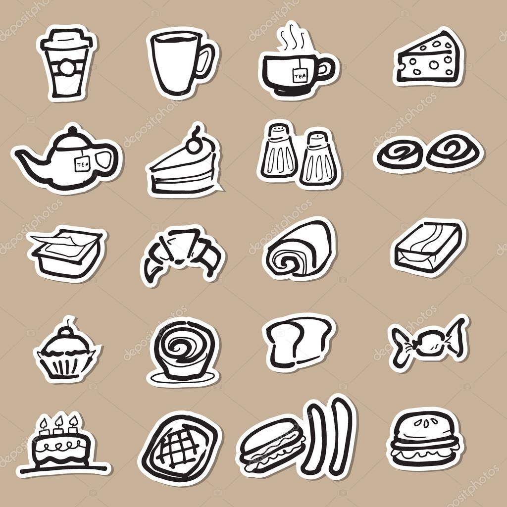 1024x1024 Coffee Break And Snacks Drawing Icons Paper Cut Stock Vector