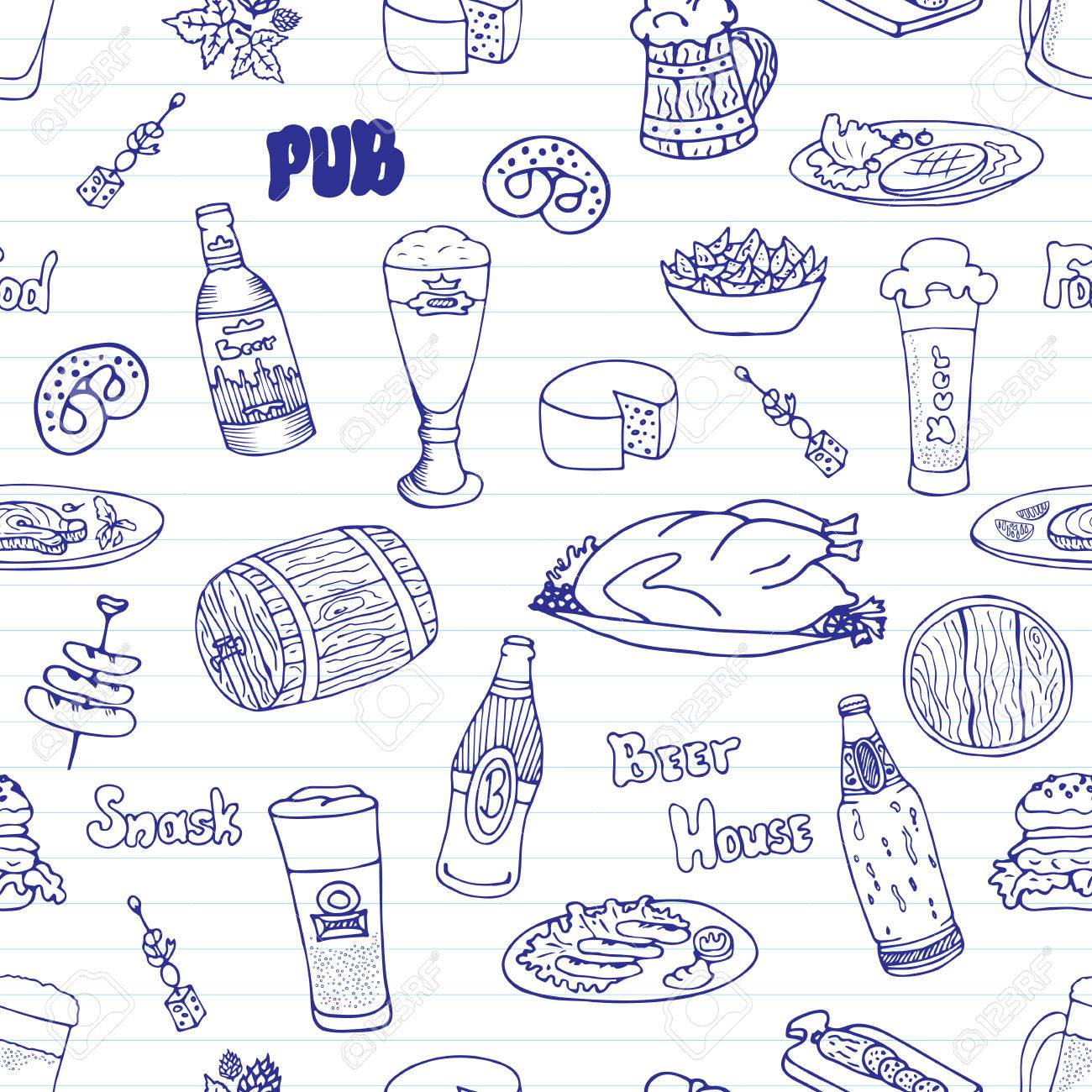 1300x1300 Hand Drawn Vector Seamless Oktoberfest Pattern. Beer Festival
