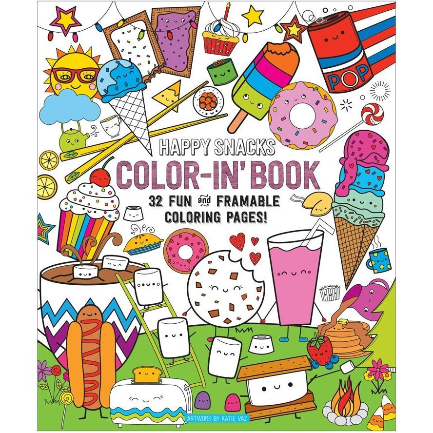 888x888 International Arrivals Color In' Happy Snacks Book Drawing