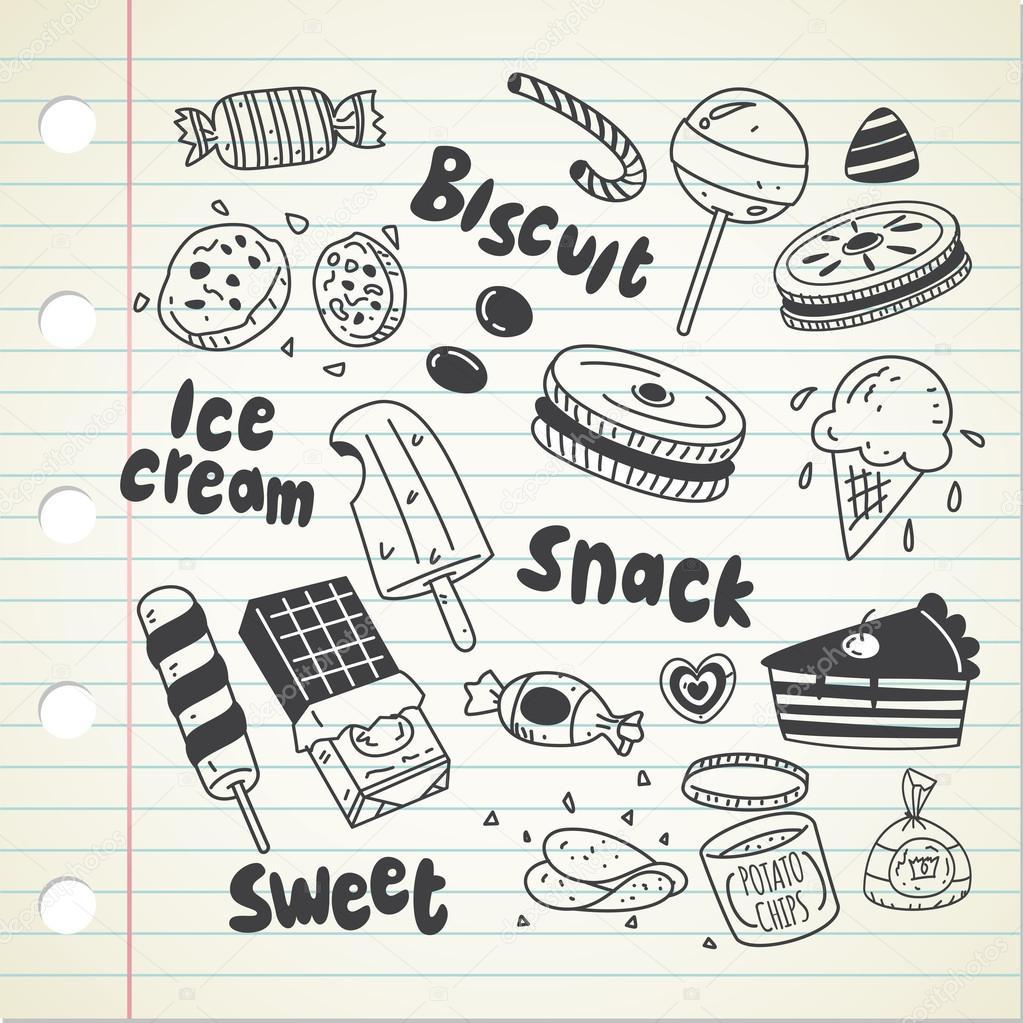 1023x1023 Various Sweets, Cartoon Snacks Stock Vector Mhatzapa