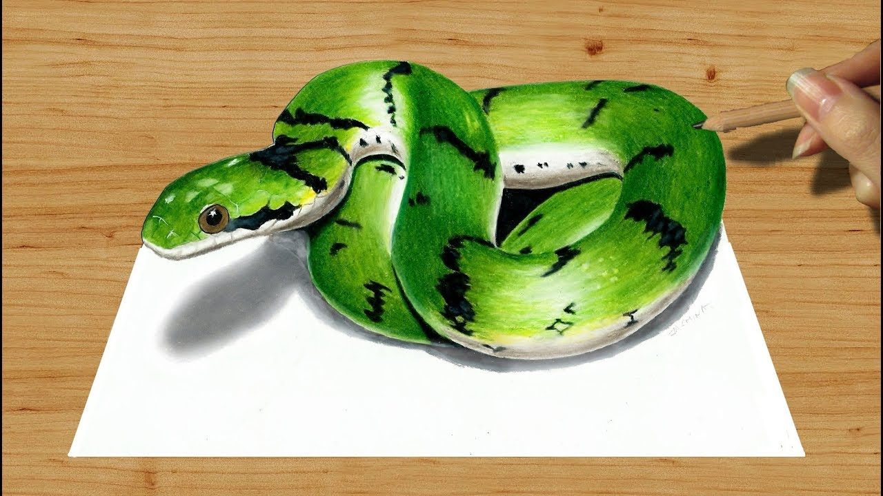 1280x720 3d Colored Pencil Drawing Cute Green Snake