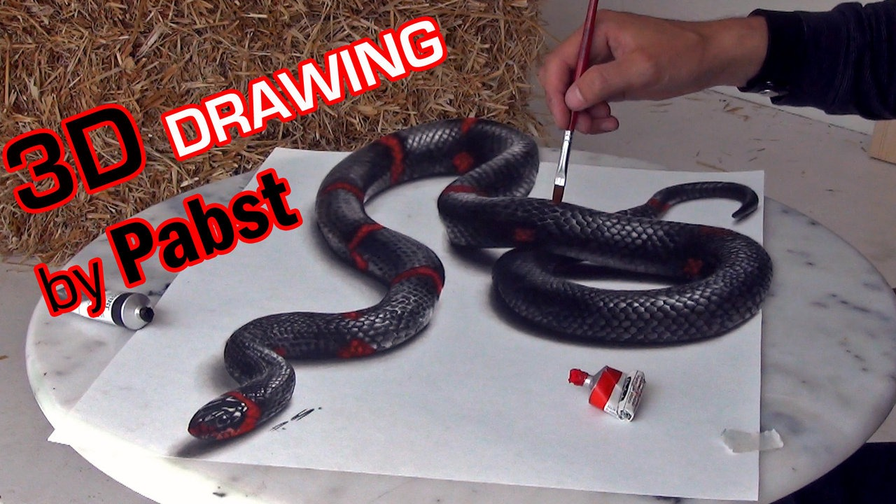 1280x720 3d Drawing Of A Lifelike Snake 3d Painting Optical Illusion