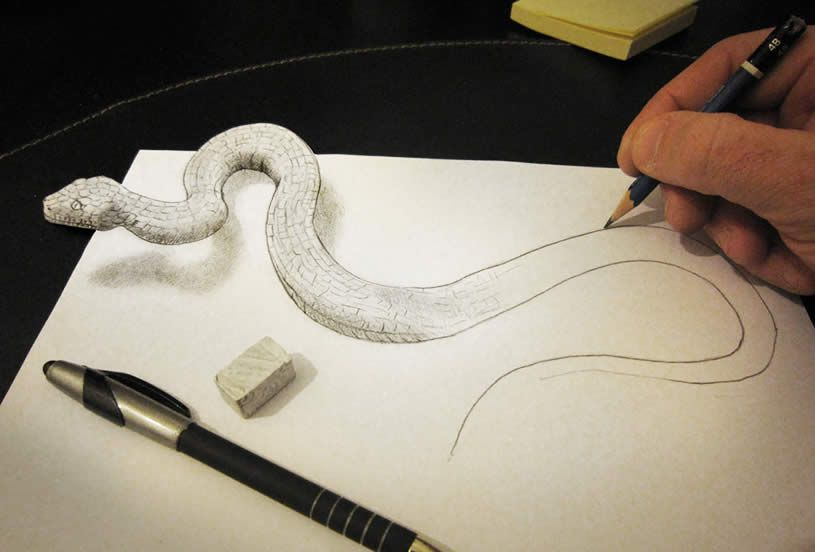 815x552 3d Illusion Drawings By Alessandro Diddi Snake, Snake Drawing