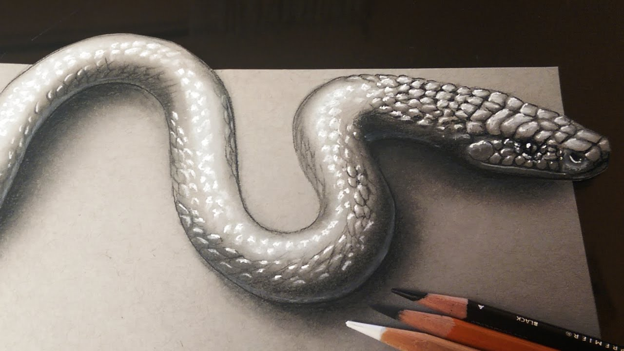 1280x720 How To Draw A Realistic 3d Snake