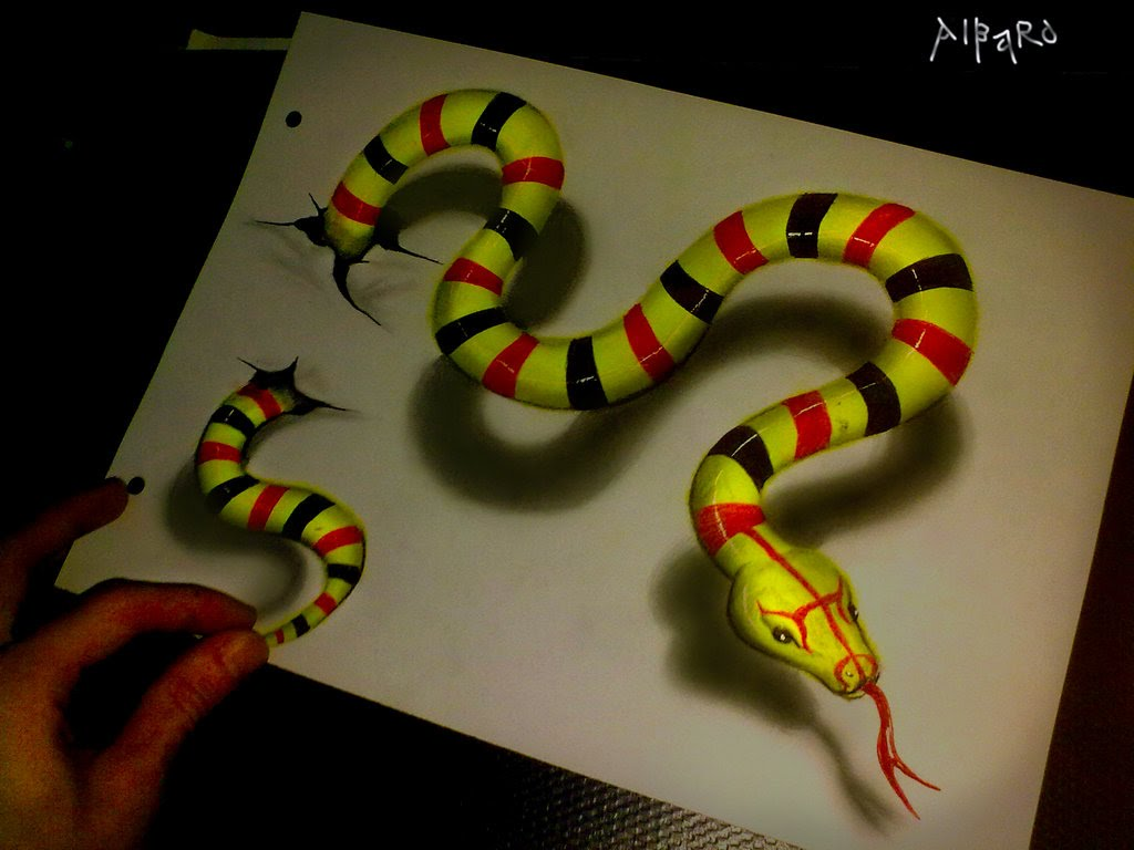 1024x768 Realistic 3d Drawing Green Snake Time Lapse