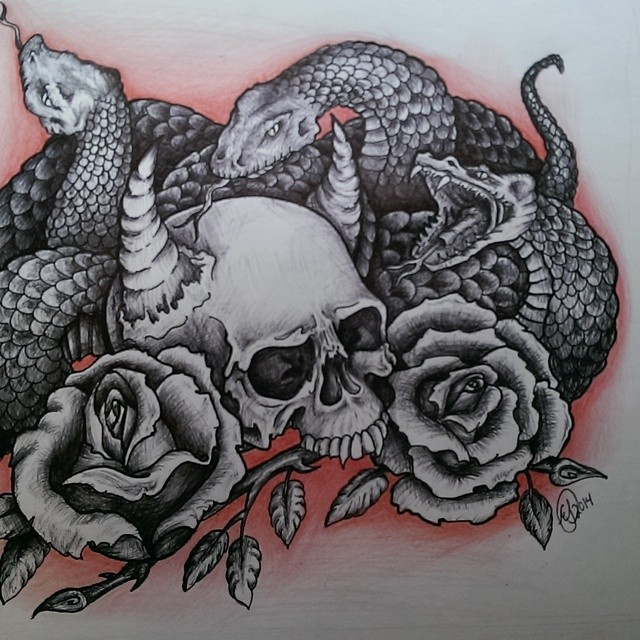 640x640 Black And White Snakes With Skull And Roses Tattoo Design