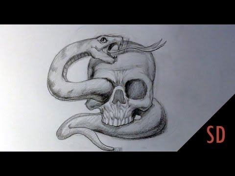 480x360 How to Draw Skull and Snake Tattoo