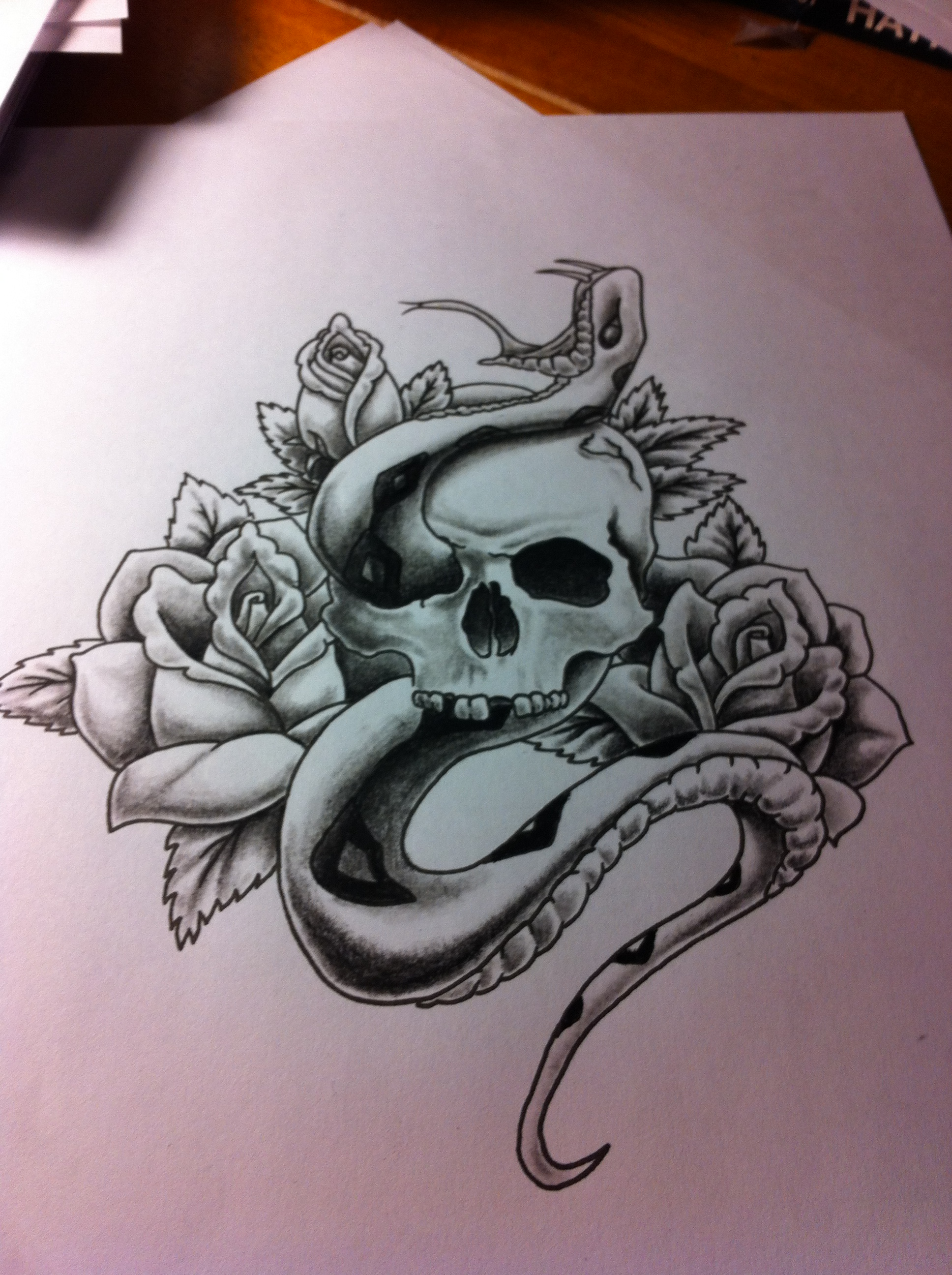 1936x2592 Skull, Snake and Roses Point Blank Industries