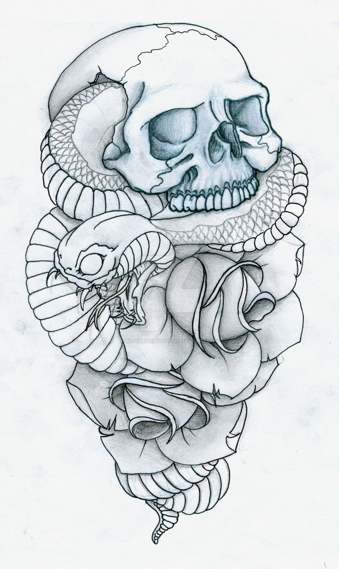690x1158 Skull, Snake and Roses Tattoo by PulverisedFetus la revolution