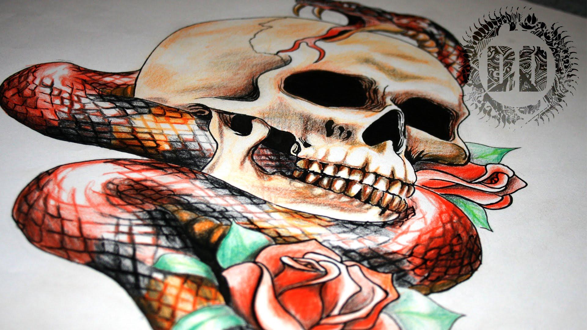 1920x1080 Skull And Snake Tattoo Design